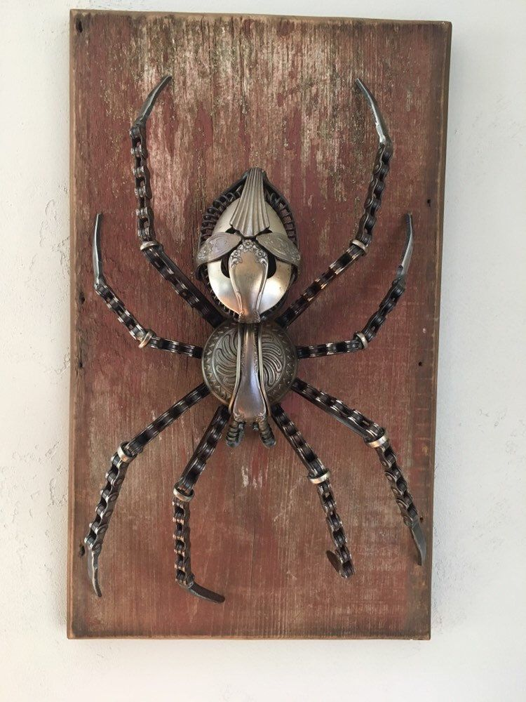 Orb Weaver Spider Scrap Metal Art Sculpture Metal Art