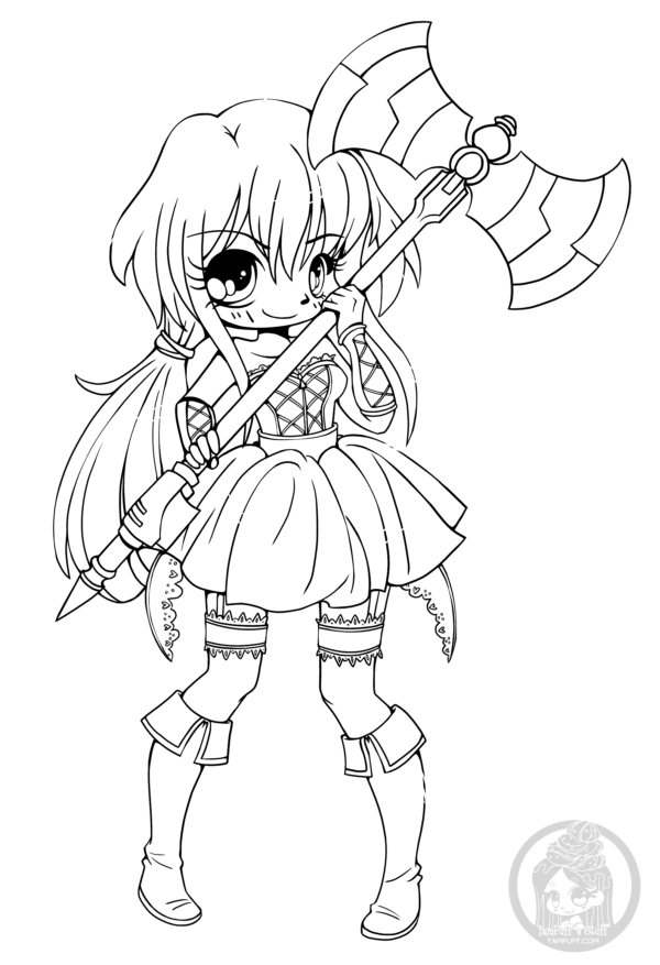 Chibi With Pigtails And Battle Axe By Yampuff Chibi Coloring Pages Coloring Pages Cute Coloring Pages