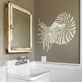 Wall Stencil Art nautilus stencil for walls - nautilus shell - reusable wall