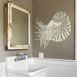 Wall Stencil Art nautilus stencil for walls - nautilus shell - reusable wall