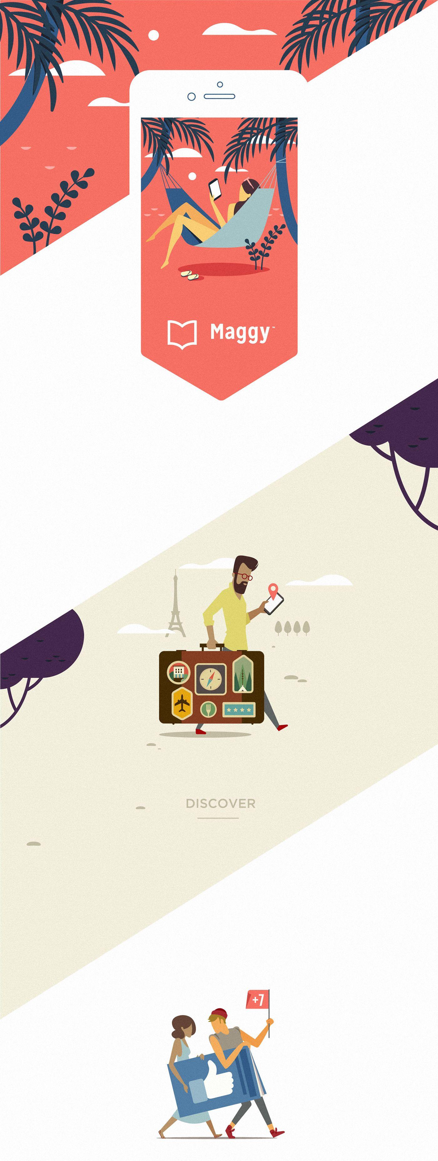 MAGGY. Magazines app. Illustrations on Behance