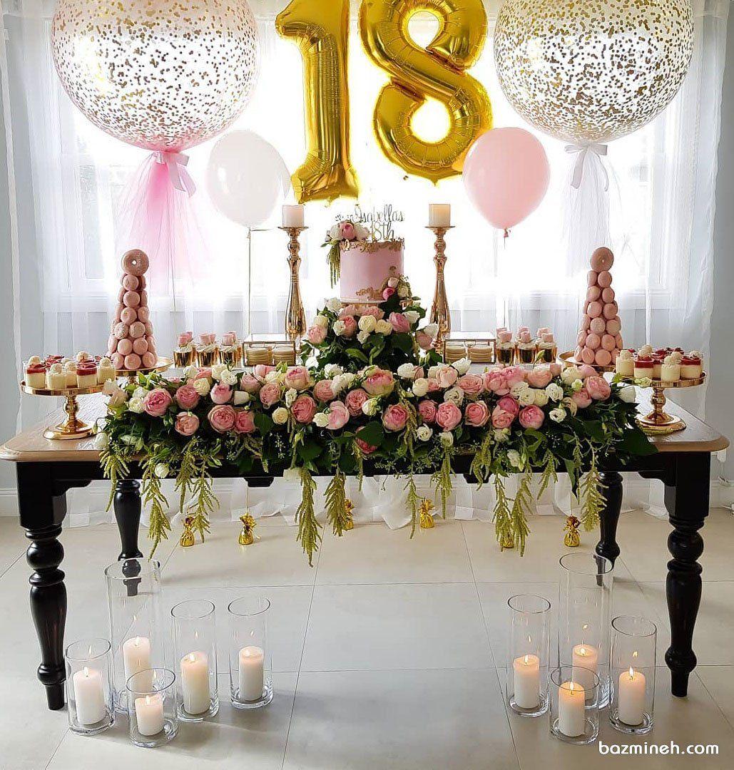 دکوراسیون و بادکنک آرایی جشن تولد نوجوان با تم صورتی طلایی همراه با گل آرایی گل های رز طبیعی و شمع آرایی Girl Birthday Birthday Bridal Shower