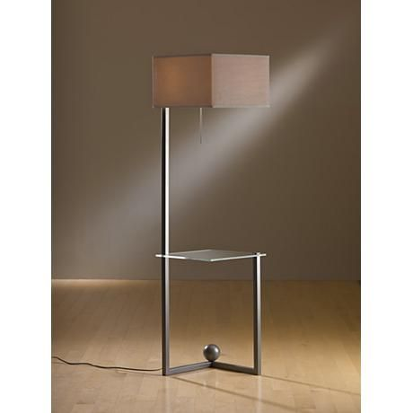 Hubbardton Forge Balance Burnish Steel Tray Table Floor Lamp