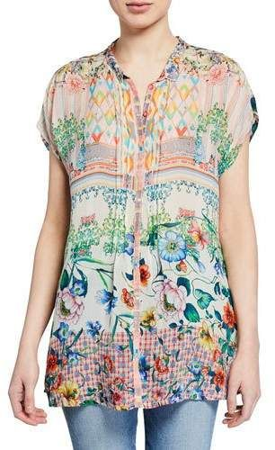 a624ba3eded Cali Mixed-Print Button-Front Cap-Sleeve Georgette Blouse in 2019 ...