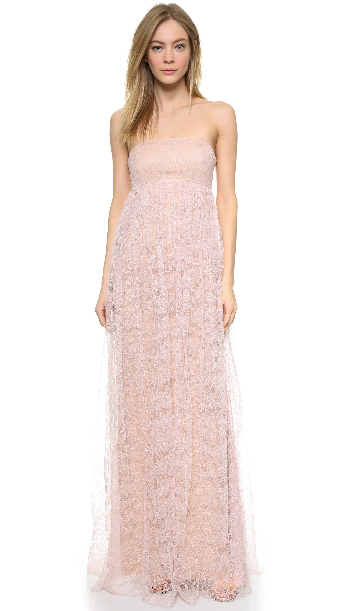 b17087028ab3 Vera Wang Collection Strapless Lace Gown Soft Pink