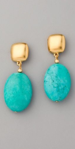 Kenneth Jay Lane Turquoise Bead Drop Earrings Gorgeous For A Bit Of Blue On The