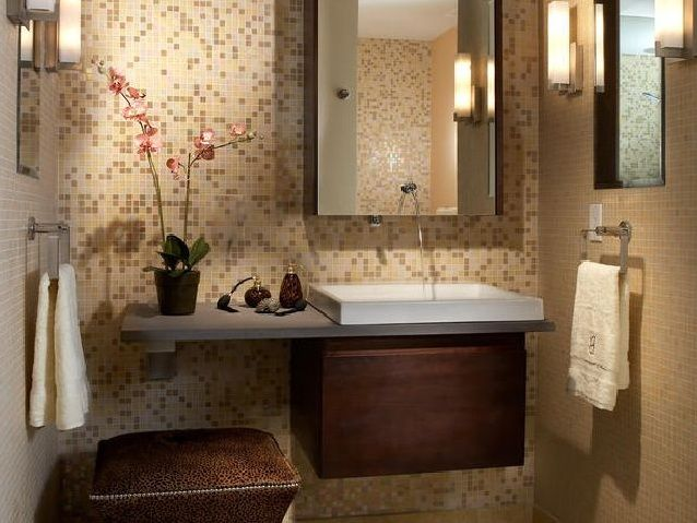Decorative Brown Tile For Small Bathroom Backsplash Ideas | Decolover.net