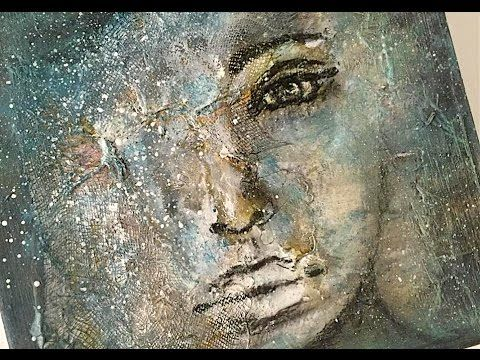 Mixed Media Abstract Acrylic Face Nika In Wonderful Video