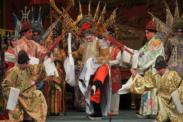 Cantonese Opera perform the well known play, Prime Minister of Six States, on stage at the West Kowloon Bamboo Theatre in Hong Kong, for Spring Festival