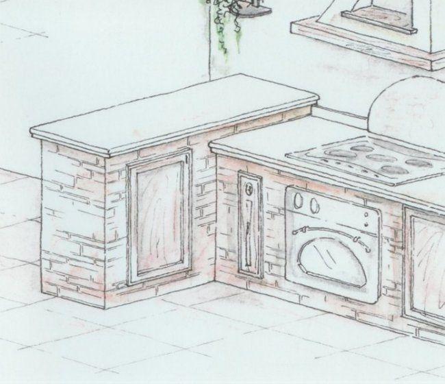 progetto cucina in muratura 3d - Cerca con Google | kitchen ...