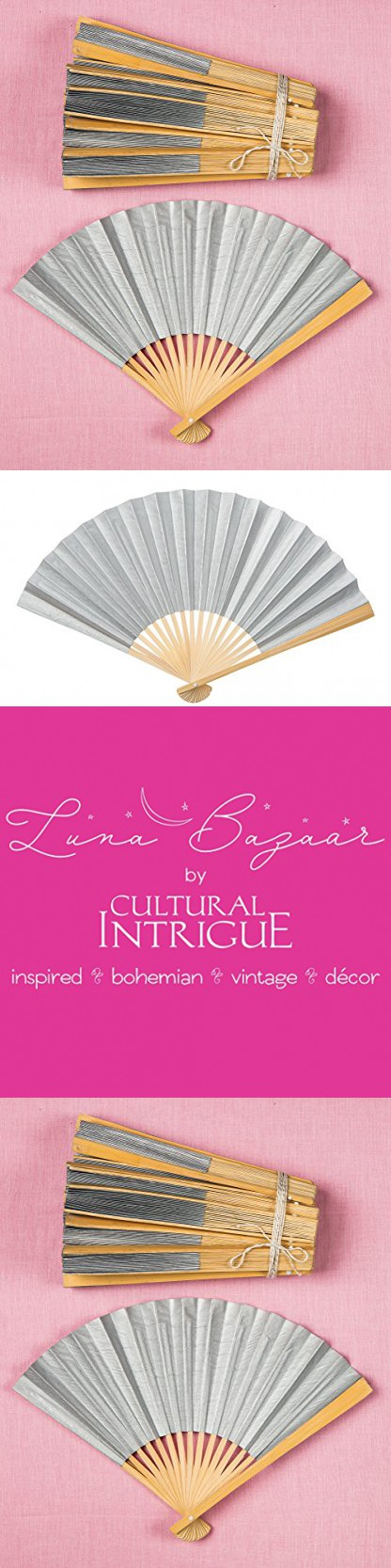 Luna Bazaar Handheld Folding Paper Fans (9-Inch, Platinum Silver, Set of 20) - In the Style of Chinese, Japanese, Spanish Fans - For Personal Use and Weddings