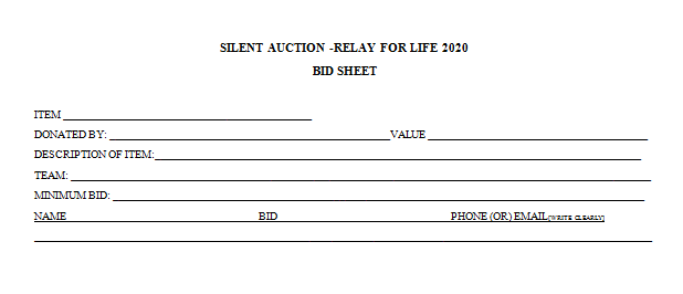 Relay For Life Silent Auction Bid Sheet Silent Auction Bid Sheets Silent Auction Auction Bid