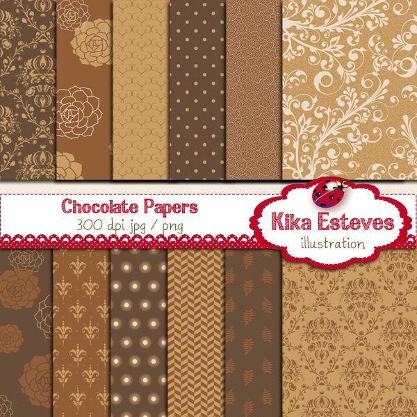 "Chocolate Papers - Digital Clipart 12 High Resolution 300dpi JPEG papers Each digital clipart image size is: 12"" x 12"""