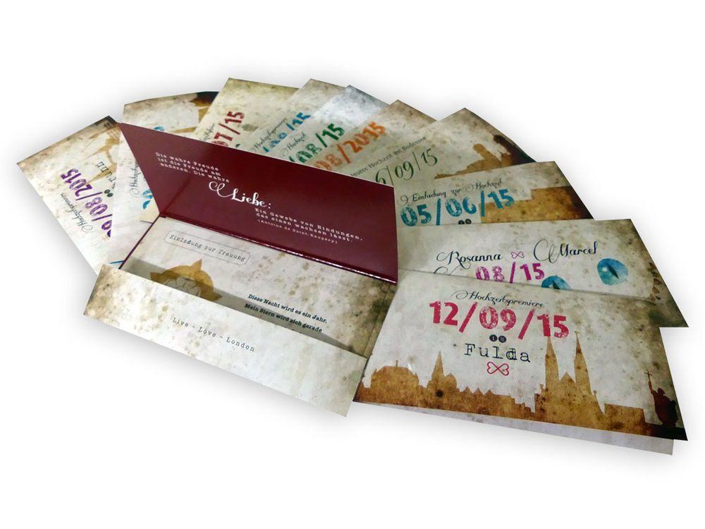 einladungskarten zur hochzeit im ticket-format und vintage design, Einladungsentwurf