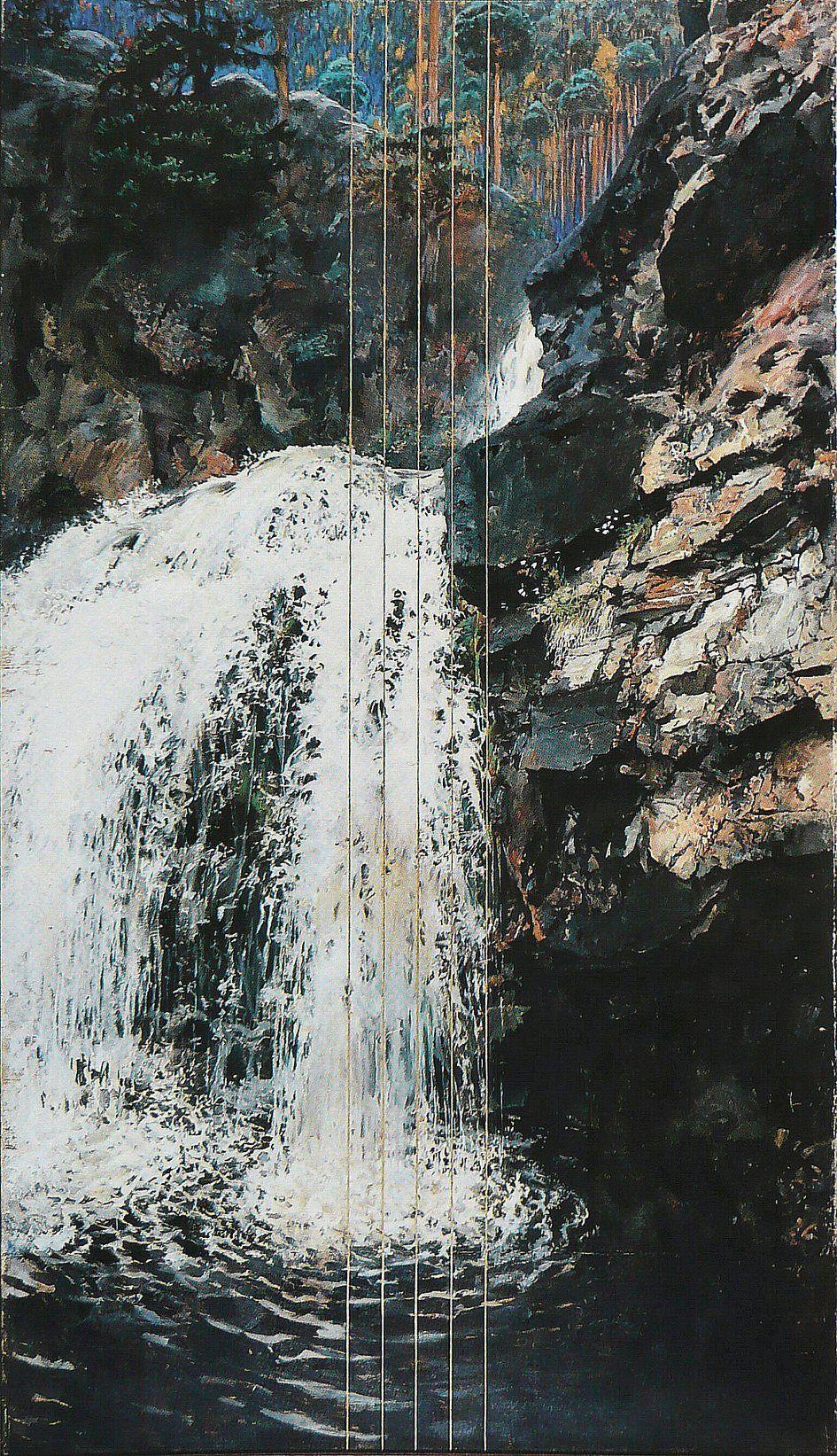Akseli Gallen-Kallela, Mäntykoski Waterfall, 1893, Oil on canvas, 270 x 156 cm, Private Collection