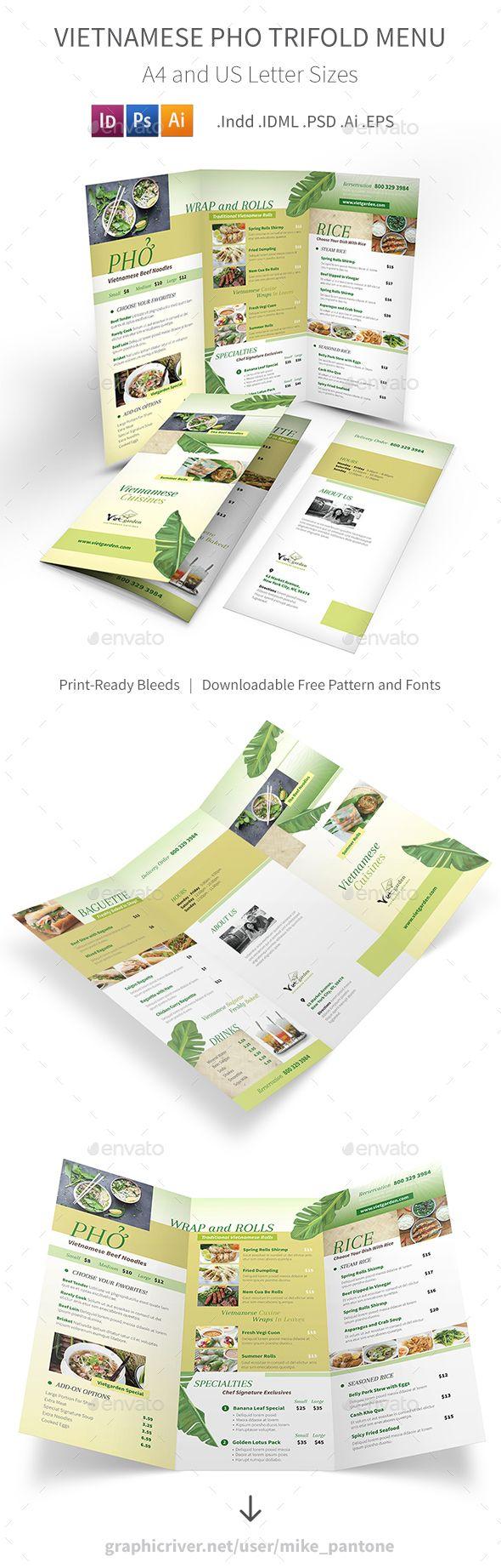 Vietnamese Pho Trifold Menu 3 Food Menus Print Templates