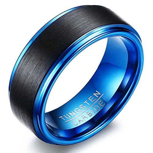 Men 8mm Tungsten Carbide Fashion Jewelry Black Blue Two-tone Wedding Band Engagement Ring Matte Finish