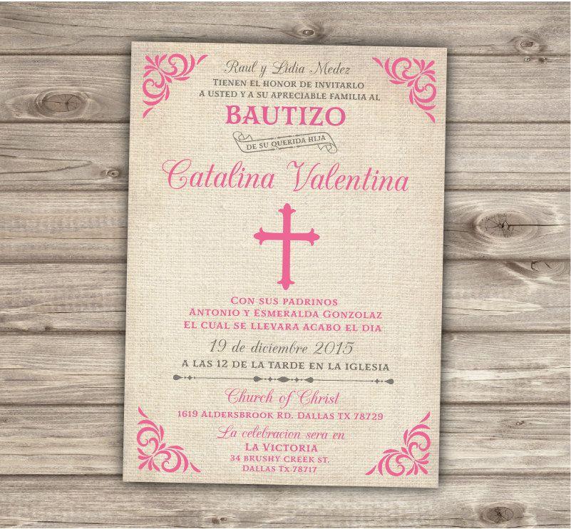 Spanish Printable Baptism Christening Invitations Burlap Cross Pink