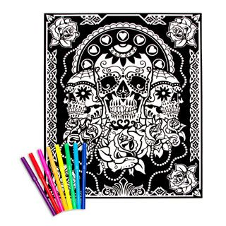 kids crafts velvet coloring poster day of the dead 16 x 20 in - Velvet Coloring Book