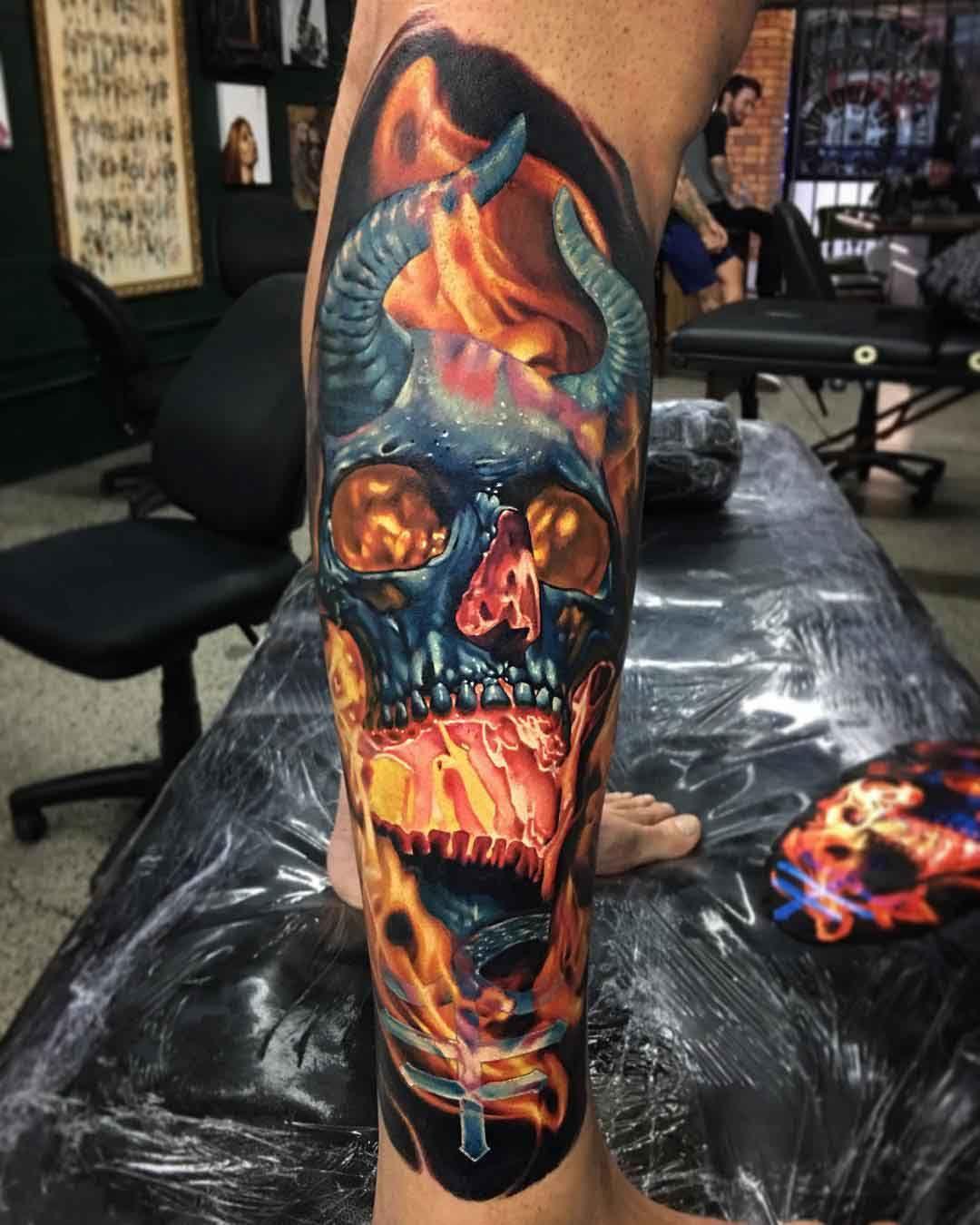 Demon Skull Tattoo Tatuajes Para Hombre 3 Tatuajes De Colores