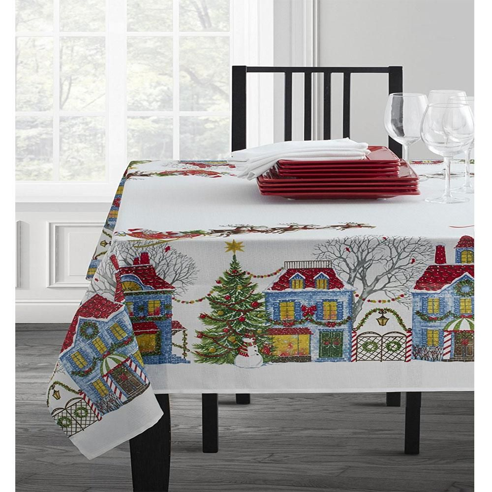 Christmas Village Textured Printed Tablecloth Christmas Table Cloth Table Cloth White Table Cloth #tablecloth #for #living #room