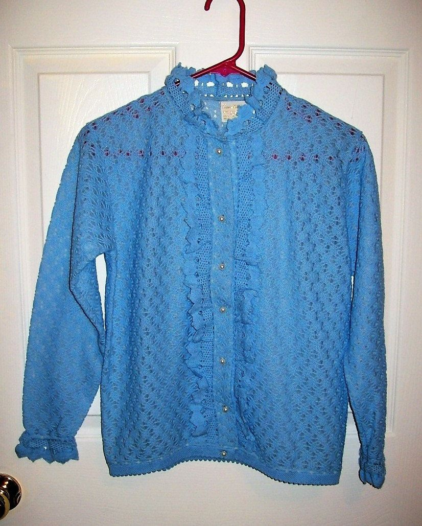 Vintage 1950s Ladies Baby Blue Ruffled Lace Cardigan Sweater ...