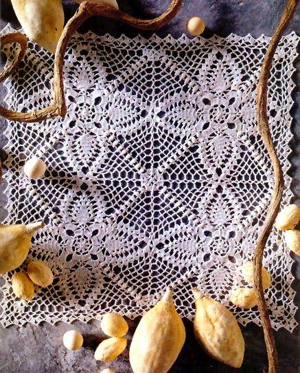 tejidos artesanales en crochet: carpeta cuadrada juego de simetrias