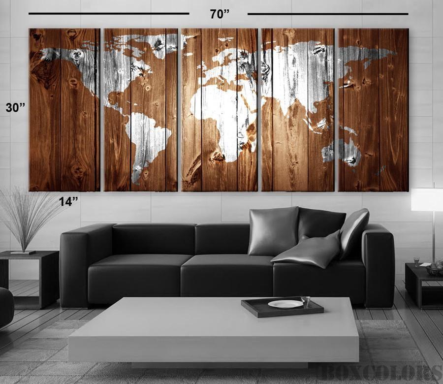 XLARGE 30x 70 5 Panels Art Canvas Print Original Wood Texture