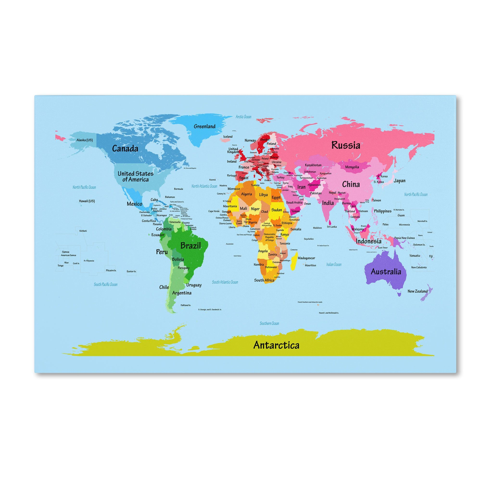 World Map for Kids by Michael Tompsett Graphic Art Gallery Wrapped on Canvas