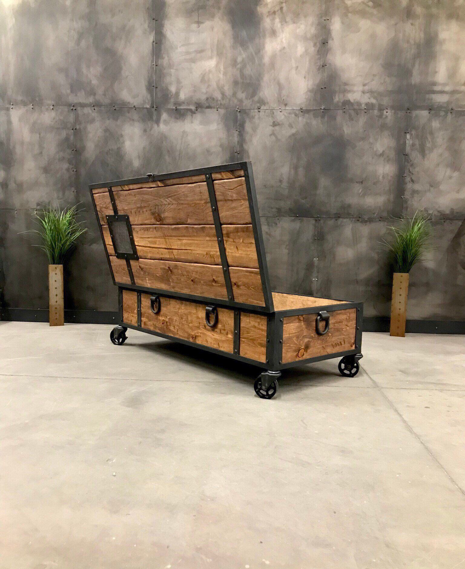 Fabricated Steel Coffee Table: Industrial Locking Chest/ Rustic Coffee Table/ Storage