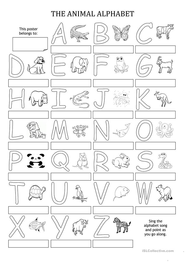 The Animal Alphabet Poster Printable Alphabet Worksheets Alphabet Worksheets Learning The Alphabet [ 1079 x 763 Pixel ]