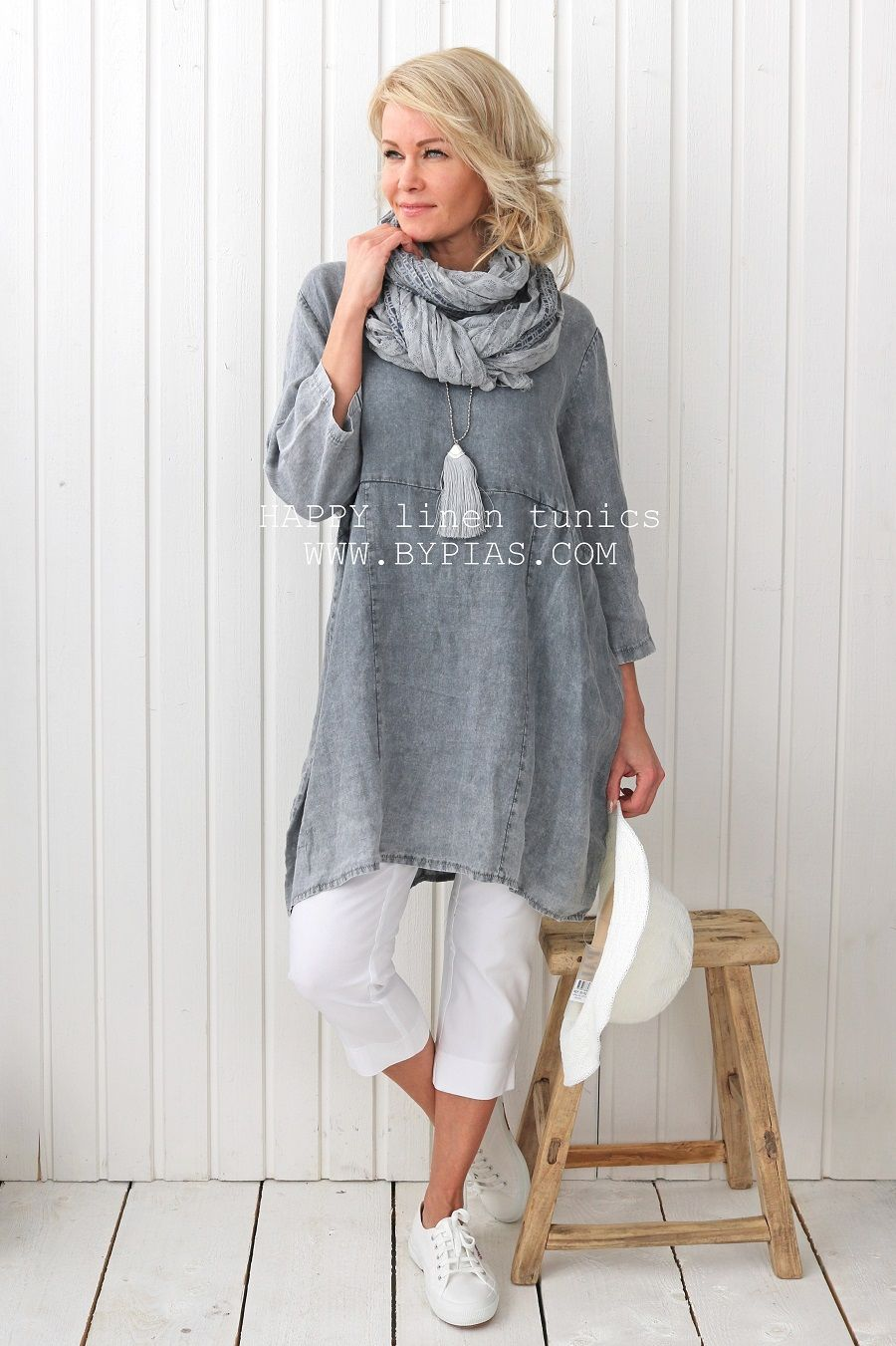 Happy Linen Tunic Grey Bohemiana Bypias Kurti Fashion