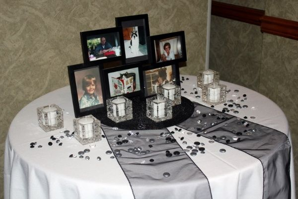 remembrance tables at wedding in honor of the close family or friends they lost love this idea