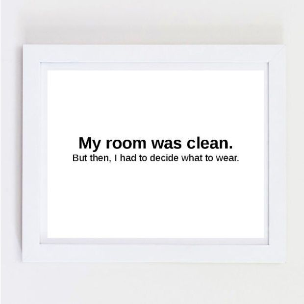 Typographic Print Quote Art Wall Decor My Room Was Clean Typography Tumblr Framed Quotes Posters Prints