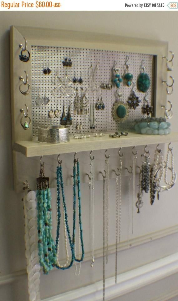Chrome Sun Bleached Stained Wall Mounted Jewelry Organizer, Wall ...