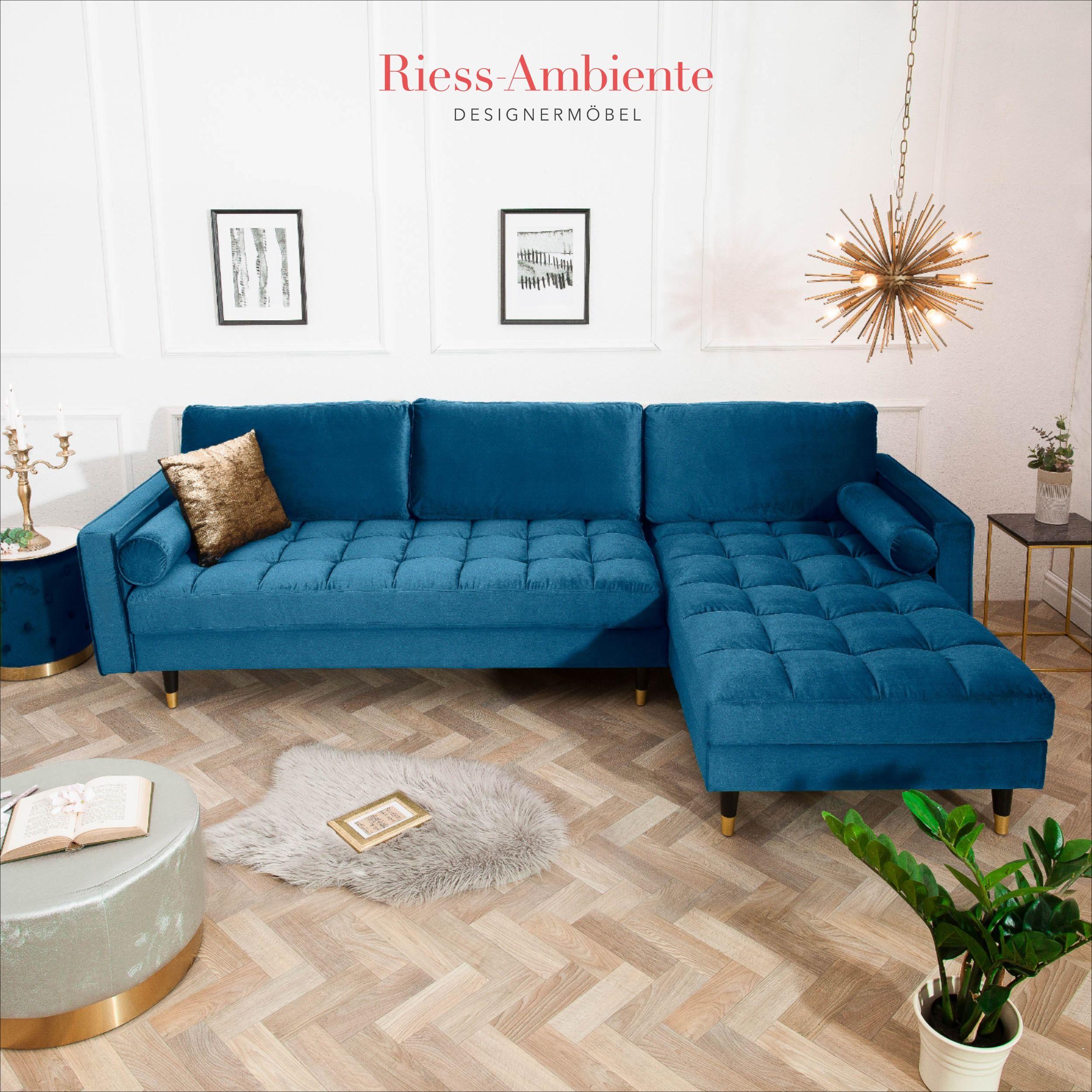 Elegantes Ecksofa Cozy Velvet 260cm Dunkelblau Samt Federkern 3er Sofa Riess Ambiente De In 2020 3er Sofa Hochglanz Mobel Ecksofa