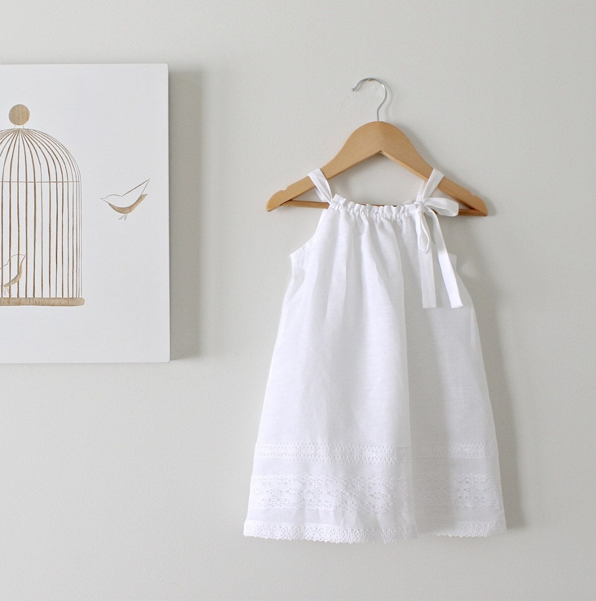 Toddler Girls White Linen and Lace Dress-Baby Baptism Dress-Beach ...