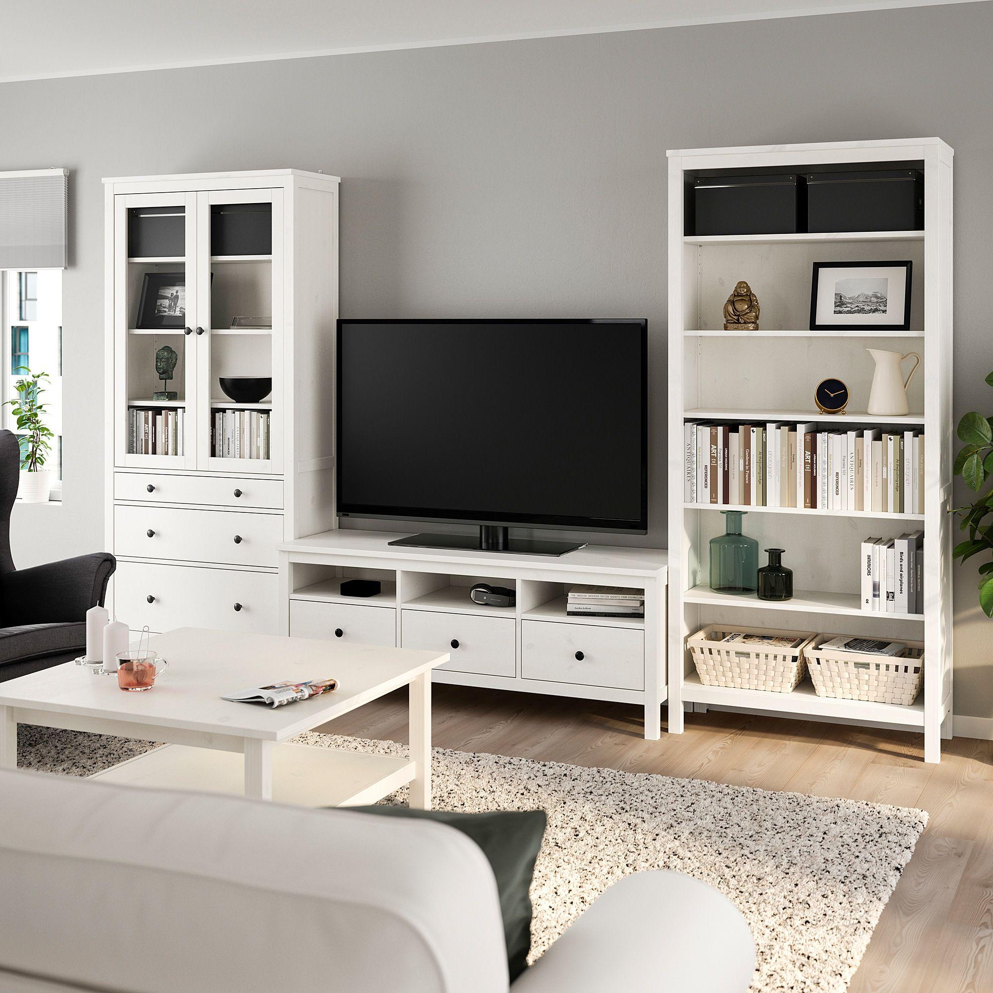 HEMNES TV-Möbel, Kombination – weiß gebeizt/Klarglas 326×197 cm