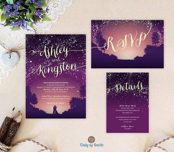 Purple Starry Night Wedding Invitation Bundle
