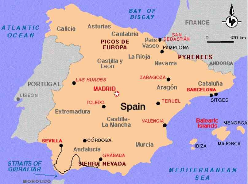 awesome Map Of Spain Sevilla Holidaymapq Pinterest Spain
