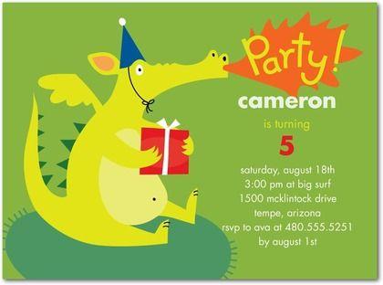 dragon gift party invitation for kids birthday Castle Birthday