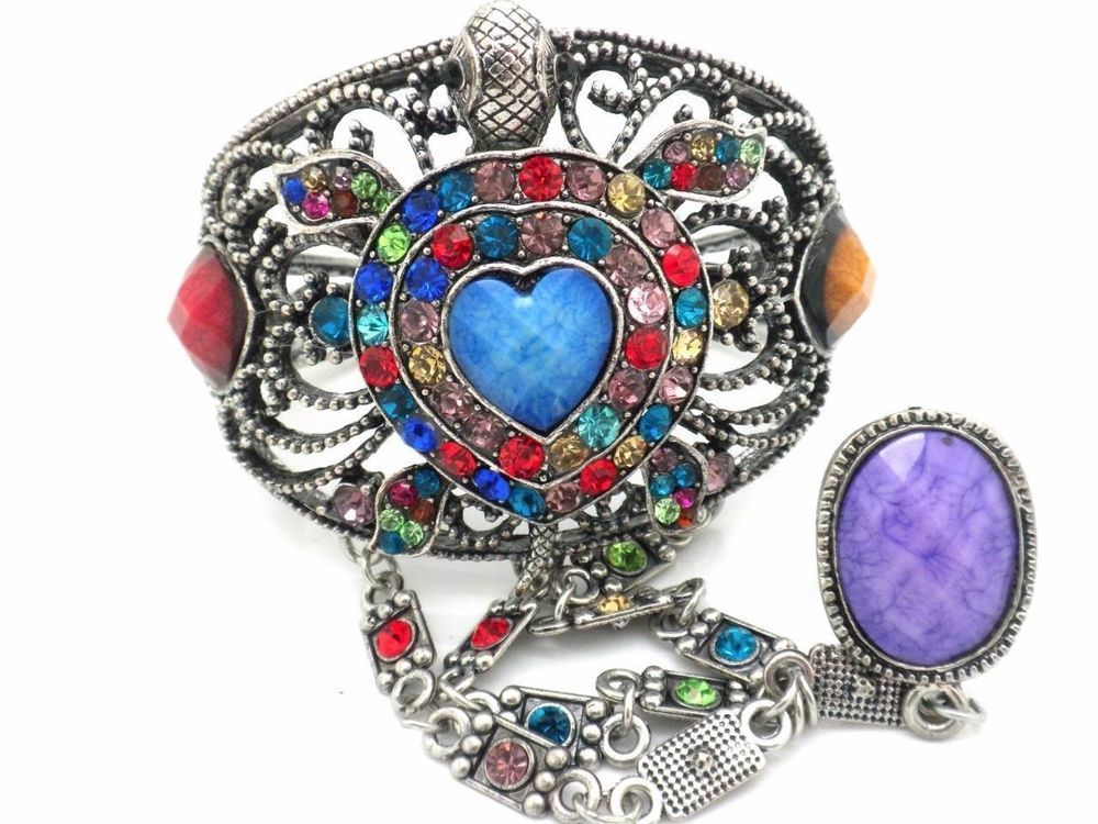 Heart Turtle Bracelet Slave W Ring Crystal Silver Plated Women NEW #Unbranded…