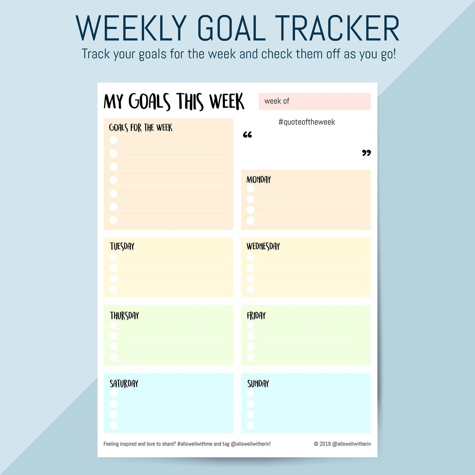 Printable Weekly Goals Chart Print Your Own Tracker For