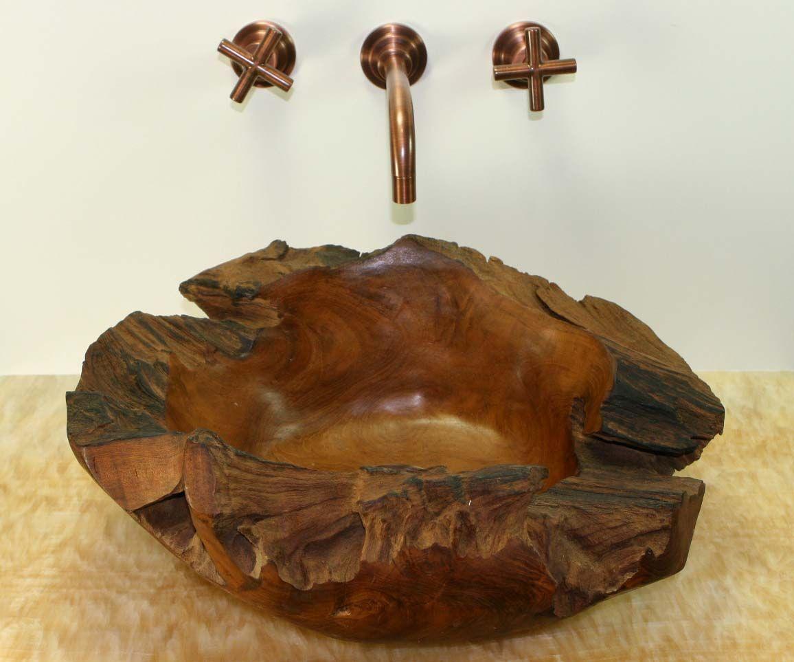Natural Teak Wood Freeform Vessel Bathroom Sink Sinks Gallery