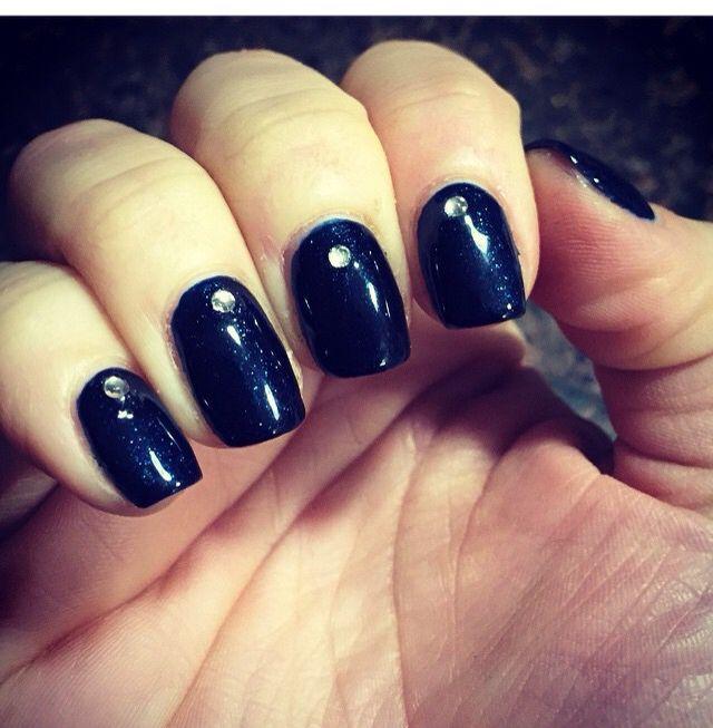 Navy Blue Sparkly Shellac Cnd Nail Designs Art Makeup