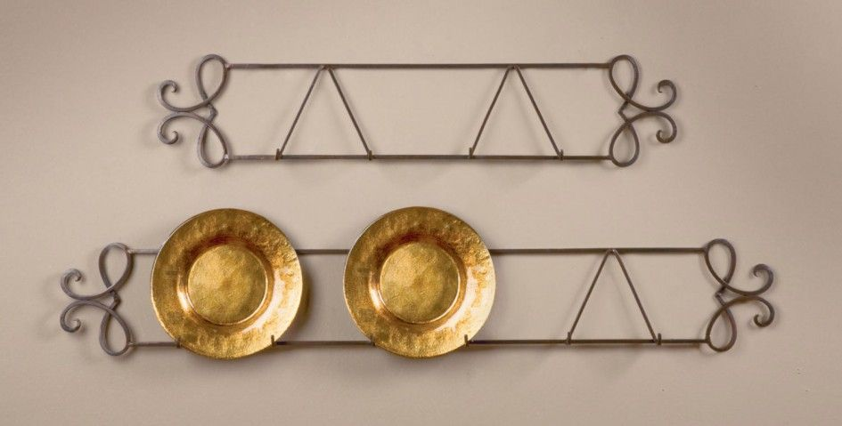 Furniture, Wrought Iron In Copper Color Wall Hanging Plate Holders ...