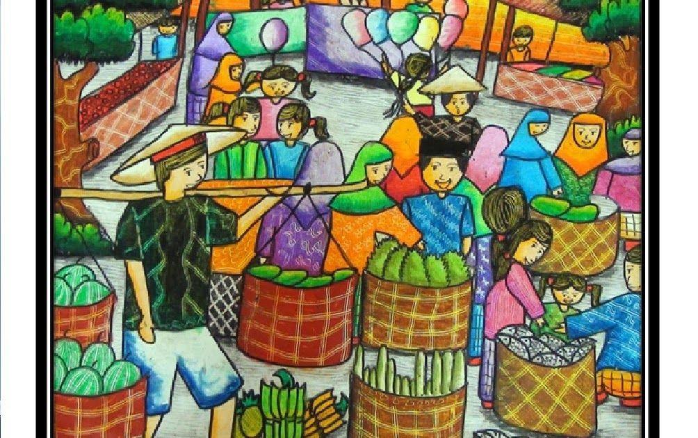 20+ Gambar Kartun Orang Di Pasar di 2020 Painting