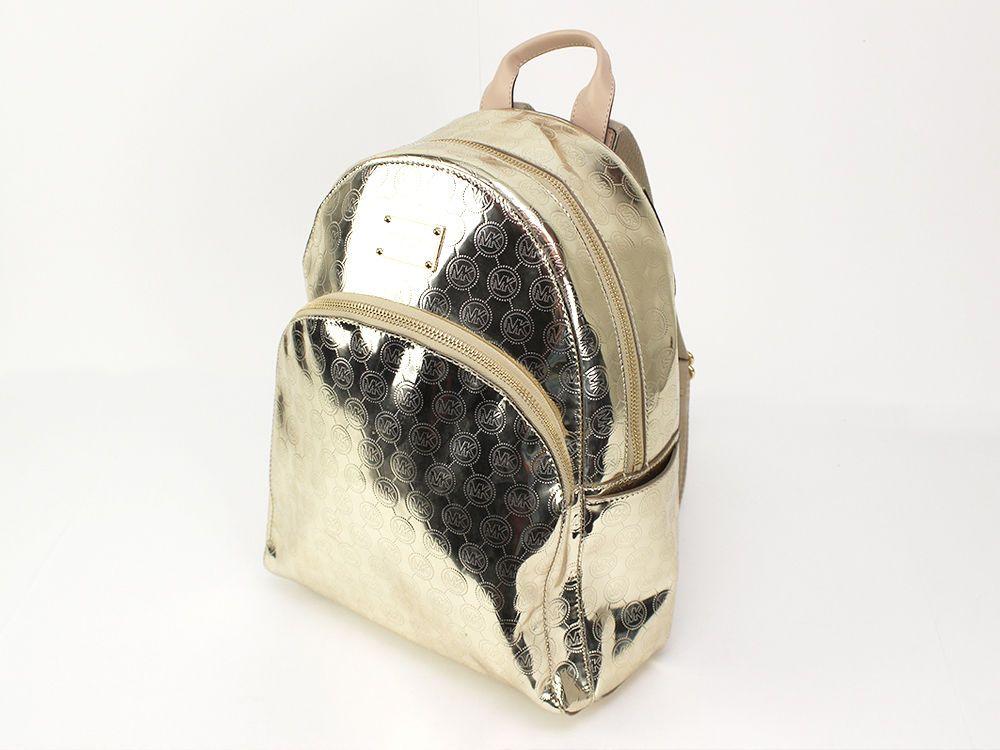 b61b2954d6a9 Michael Kors Pale Gold Mirror Metallic Signature Jet Set Large Backpack NWT   MichaelKors  BackpackStyle
