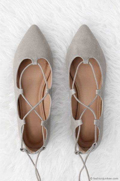 Faux Leather Pointy Toe Strappy Ballet Ballerina Lace Up ...