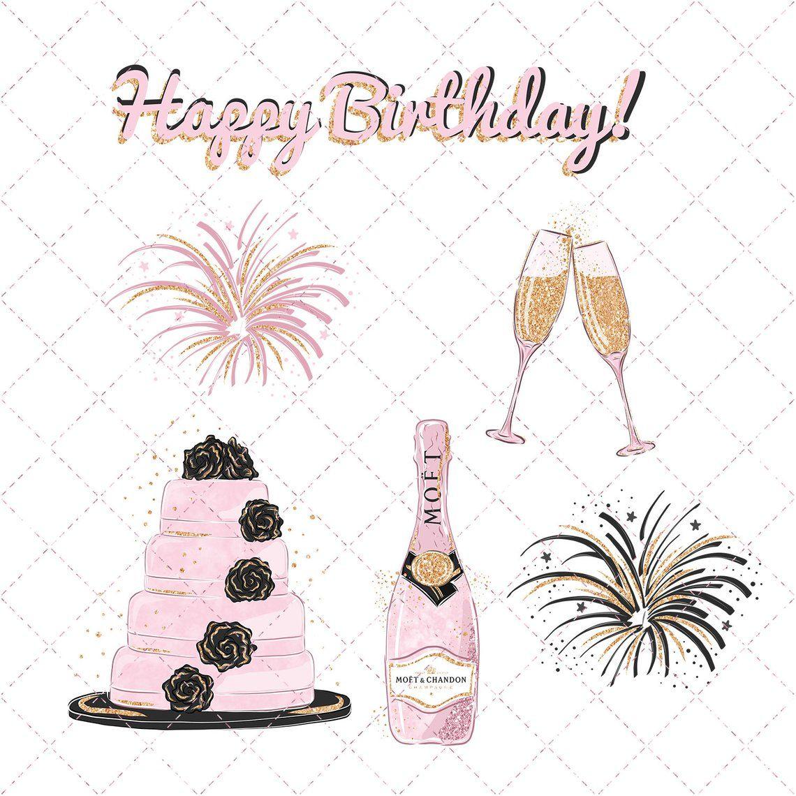 Birthday Watercolor Clipart Party Clipart Happy Birthday Hand Painted Birthday Girl Gift Balloons Birthday Cake Champagne Pink Floral Ballonnen Illustraties Verjaardag Ballonnen